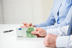Business people hands with euro banknotes Royalty Free Stock Image