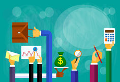 Business People Hands Finance Flat Vector Royalty Free Stock Image