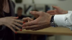 Business people hands gesturing in office stock footage
