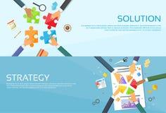 Business People Hands Making Puzzle Desk, Team. Work Pie Diagram, Businessmen Finance Document Web Banner Set Flat Vector Illustration vector illustration