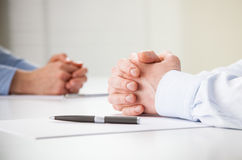 Business people hands during meeting Royalty Free Stock Image
