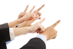 Business people hands point to same direction Stock Photo