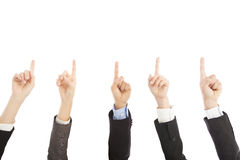 Business people hands point upward together Royalty Free Stock Photos