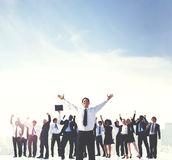 Business People Hands Raised Rooftop City Concept Stock Photos