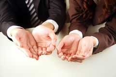 Business people with hands together. Empty Stock Photography