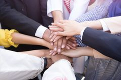 Business people hands together and teamwork concept. royalty free stock image
