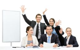 Business people with hands up near the copyspace Stock Photo