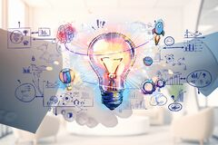Free Business People Handshake And Colourful Lightbulb Sketch Doodle Stock Photo - 217018520