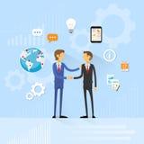 Business people handshake, businessmen hand shake. Flat icon vector illustration Royalty Free Stock Photos