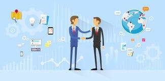 Business People Handshake, Businessmen Hand Shake. Flat Icon Vector Illustration Stock Images