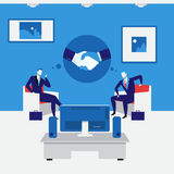 Business people handshake concept vector illustration in flat style Stock Photography