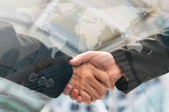 Business people handshake, Double exposure royalty free stock image