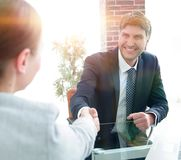 Business people, handshake, finishing the meeting. Concept of partnership Stock Photography