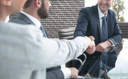 Business people, handshake, finishing the meeting. Concept of partnership Stock Photos