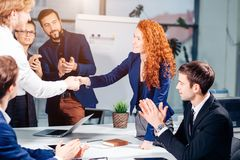 Business People Handshake Greeting Deal Concept. Business People Handshake Greeting Deal and Agreement Concept Royalty Free Stock Image