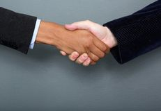 Business people handshake. Male and female business people handshake agreement Royalty Free Stock Photography
