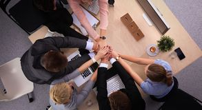 Business people handshake, sitting at the table.  Stock Image