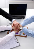 Business people handshake, sitting at the table.  Stock Photos