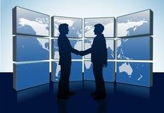 Business People Handshake World Map Monitors Stock Photo