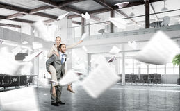 Business people having break in office . Mixed media Stock Images
