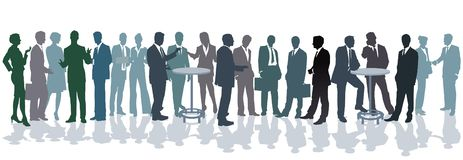 Business people having conversation. An illustration of a large group of business people having a conversation on a white background royalty free illustration