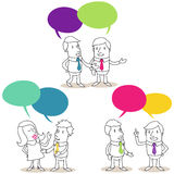 Business people having conversations. Vector illustration of monochrome cartoon characters: Set of pairs of business people with colorful speech bubbles having stock illustration