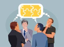Business people having discussion exchanging thoughts completing puzzle royalty free illustration