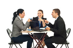 Business people having funny conversation stock photography