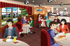 Business People Having Lunch Together. A vector illustration of business people having lunch together Stock Photo
