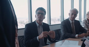 Business people having a meeting in office stock footage