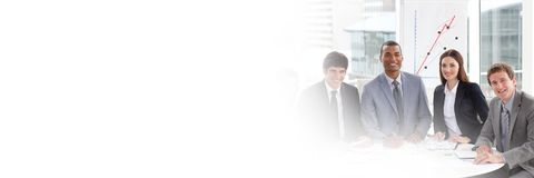 Business people having a meeting with transition effect stock photo