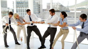 Business people having a tug of war stock video footage