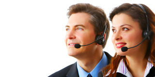 Business people with headsets stock photos