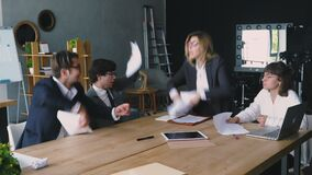 Business people at a heated dispute or argument. Man is throwing papers. Business concept