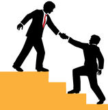 Business people help climb success. Business person helping partner climb to success Royalty Free Stock Images