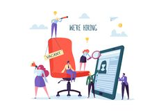 Business People Hiring New Staff. Office chair with vacancy sign. Head Hunters. Flat Characters are Examining a Resume. Recruitment Agency. Vector illustration stock illustration