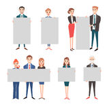 Business people hold banner vector set. Stock Photography
