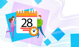 Business People Hold Calendar Timetable Deadline Work Time Concept. Business People Hold Calendar Deadline Work Time Concept Flat Vector Illustration Royalty Free Stock Image