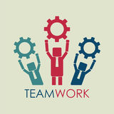 Business people hold gears. Teamwork concept. Human resources re. Cruit. Vector illustration Royalty Free Stock Images