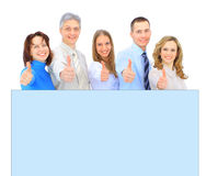 Business people holding a banner ad isolated on white Stock Photography