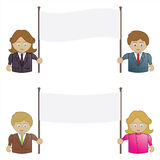 Business people holding banners Stock Photos
