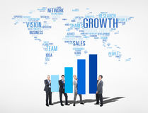 Business People Holding Bar Graph To Improve and World Above Stock Photo