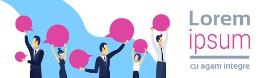 Business people holding blank speech communication concept business man woman chat bubble conversation male female. Cartoon character portrait horizontal banner stock illustration