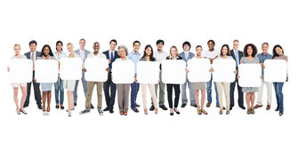Business People Holding Empty 11 Cardboard Stock Image