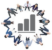 Business People Holding Hands and Bar Graph Royalty Free Stock Photo
