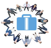Business People Holding Hands and Briefcase Symbol Royalty Free Stock Photos