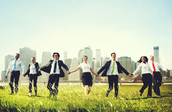 Business People Holding Hands Together Outdoors Concept Stock Photography