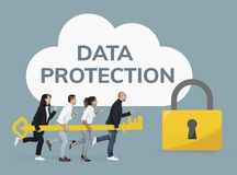 Business people holding a key for data protection stock photography