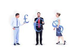 Business people holding money symbols Stock Photo