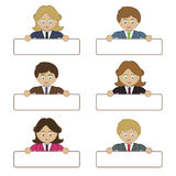 Business people holding name tags Royalty Free Stock Photography
